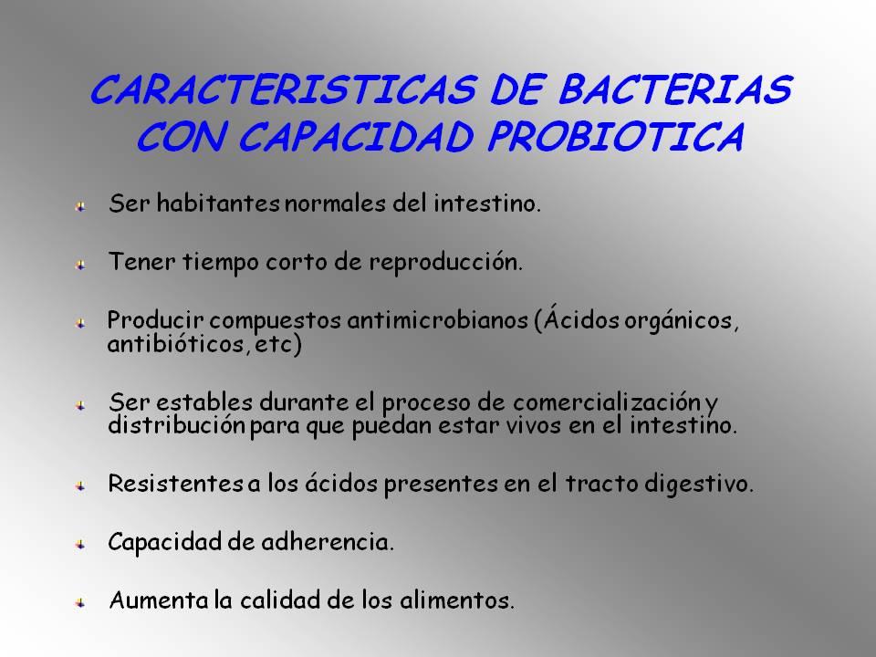 características de bacterias con capacidad probiotica